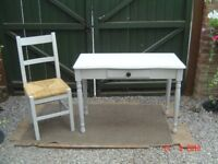 Pine Chalk Painted Small / Petite Table with a Matching Chair. Can Deliver. Will sell separately.