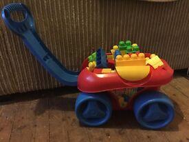Mega blocks cart and blocks