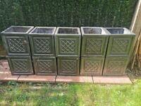 Strata Lazio Square Planter 27cm Garden Indoor Outdoor Deco Clayfibre