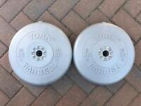 """York 10kg x 2 weights 1"""" hole for Barbell or dumbells"""