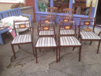 Beautiful Set of 6 Vintage Retro ESA McIntosh Solid Mahogany Re-upholstered Regency Dining Chairs