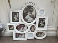 Multi photo frame, holds 10 photos. White shabby chic
