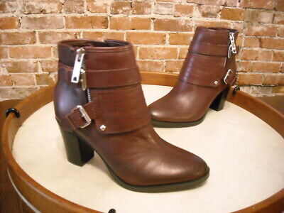 Marc Fisher Burgundy Red Leather Engine Buckled Ankle Boots NEW Red Leather Boots