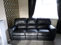 3 Seater Leather Recliner Sofa With Matching Leather Recliner Armchair