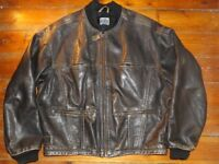 Vintage Distressed Brown Leather Bomber Jacket - XL