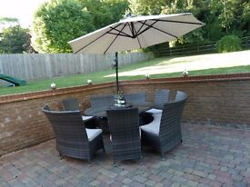 12 seater Ratten Dining Set with lazy susan