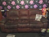 Brown suede leather sofa x 2, one 2 seater & One 3 seater. Both turn into recliner beds