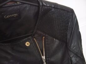WOMENS BLACK REAL LEATHER JACKET SIZE 10