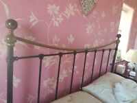King size black & brass antique style bed frame