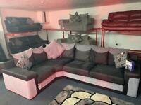Grey & Black SCS fabric & suede corner sofa delivery 🚚sofa suite couch furniture