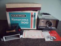 Hanimex Hanorama 300 photo slide Projector, Hand viewer, Screen & slide storage box