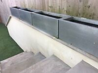 Selection of Zinc Galvanised Metal Planters - Various Sizes - Weathered