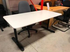 White Table Desk with Black T-Leg - $99
