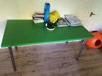 Desk / Table, green and silver