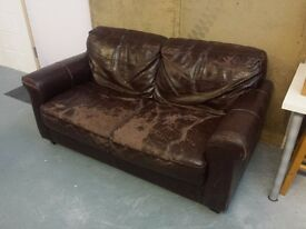 Vintage Retro Brown Leather Sofa
