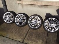 """Volkswagen Golf R32 Audi RS4 18"""" Alloy Wheels and Tyres 5 X 100"""