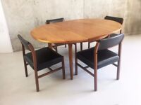 1970's mid century dining set with extendable Mcintosh table (6 chairs available)