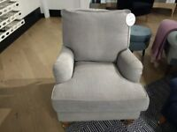 Ex-display Armchair: Bestselling Bluebell style in 'Silver Birch' Vintage Chenille