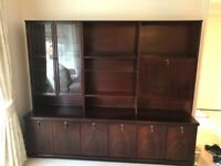 Large mahogany display cabinet with drinks unit