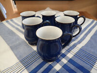 Denby Imperial Blue 6 new mugs