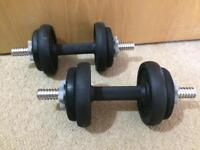 Weights: York Fitness Cast Iron Dumbbell Spinlock Set