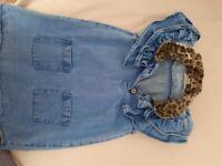 Dress age 12/18 months denim and leopard print collar
