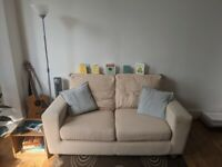 2 Seat Sofa - Cream, Good Condition, Collection Only