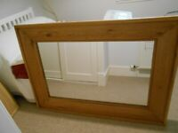 LARGE WALL MIRROR, with wooden frame, in excellent condition.
