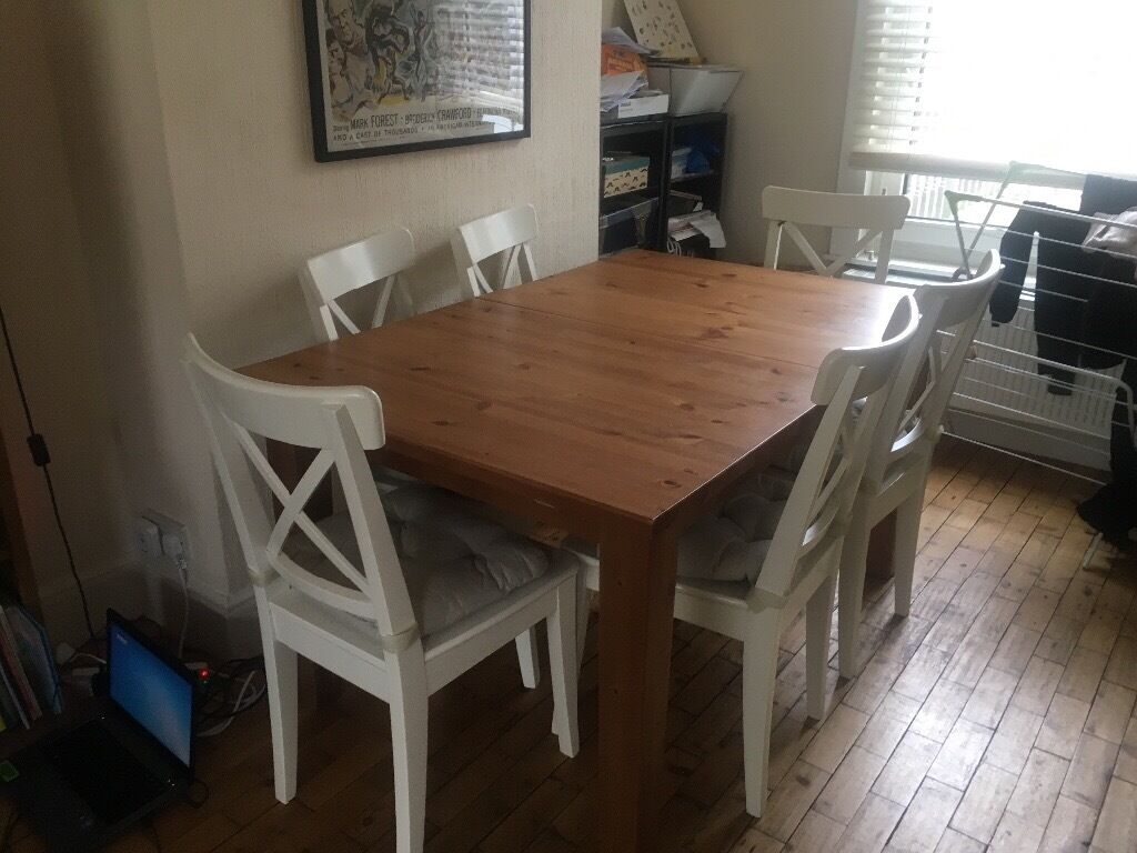 ikea stornas extendable dining table only chairs already sold 3 yrs old in chislehurst. Black Bedroom Furniture Sets. Home Design Ideas