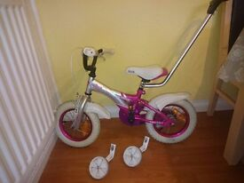 """12"""" bicycle pink & silver"""