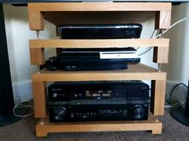 Pioneer & Cambridge audio 5.1 AV home cinema system and custom oak AV stand