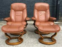 STUNNING EKORNES STRESSLESS RECLINING CHAIRS & FOOTSTOOL S IN TAN LEATHER - DELIVERY AVAILABLE