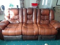 Leather 3 seater recliner setee & rocker recliner chair.