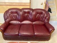 Burgundy Leather 3 Piece Suite - 3 Seater Sofa and 2 Arm Chairs