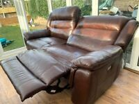 Leather Sofa, double electric recliner