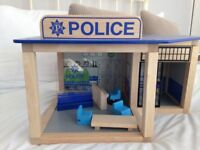 Wooden toy police station