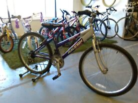 OLDER GIRLS RALEIGH KRUSH BIKE 24 INCH WHEELS 18 SPEED PURPLE/SILVER OK CONDITION