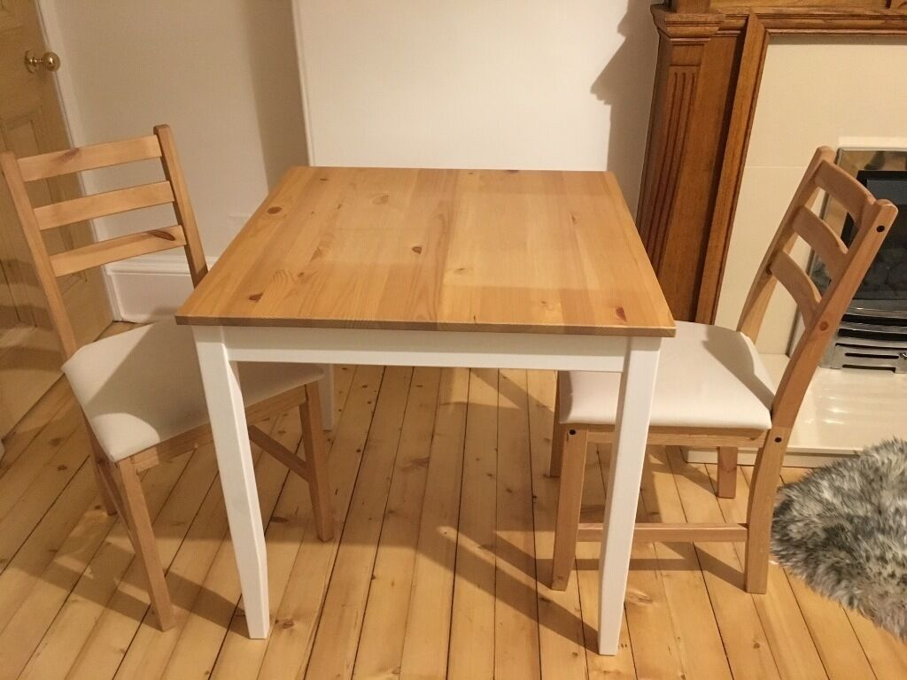 Ikea Lerhamn 74cm X 74cm Dining Table Amp 2 Matching Chairs