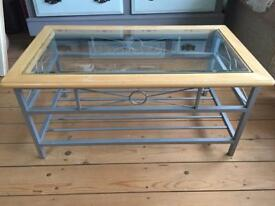 Coffee table wood metal with glass top