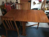 Teak Drop leaf dining table with 6 chairs