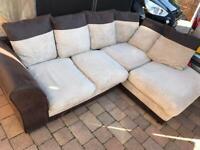 Brown and beige small corner sofa