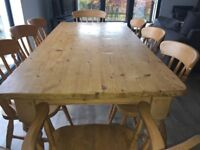 6ft pine dining kitchen table and 4 chairs + 2 carvers.