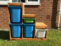 IKEA solid pine toy storage with boxes - ideal for a sloping roof