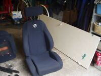 Two Black/Dark Blue Corbeau GTB Seats for Kit Car, Race Car or Replacements.