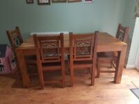 Dakota large solid dining table & 4 solid wooden chairs