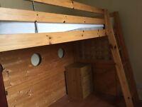Mid sleeper ikea bed plus home made portholes and window