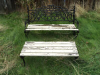 OLD METAL / WOOD GARDEN BENCH AND TABLE (IDEAL RESTORATION PROJECT) SEATING FOR THE GARDEN