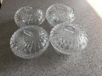 Set of 4 cut glass Bowls with lids (vintage)