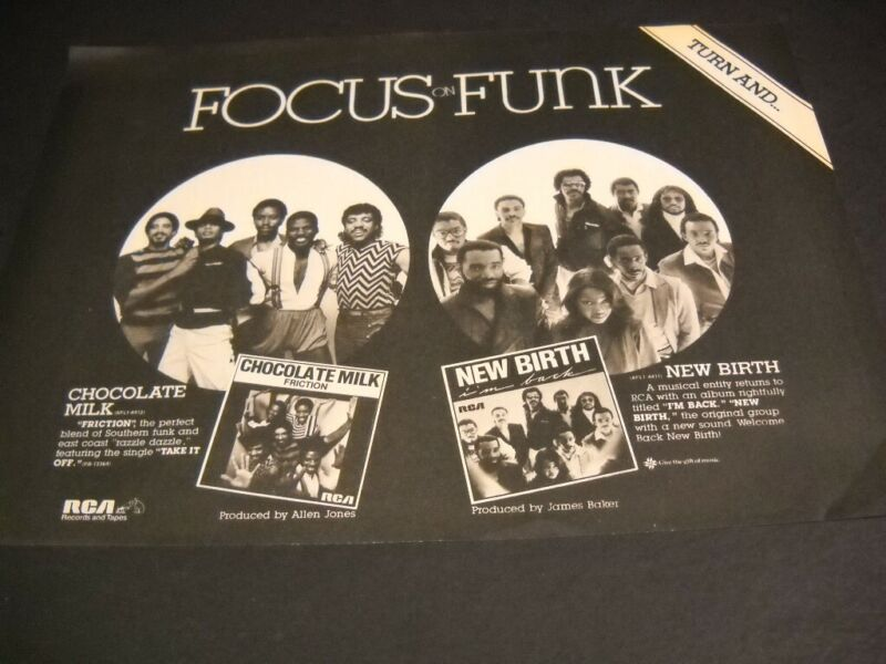 NEW BIRTH and CHOCOLATE MILK both FOCUS ON FUNK 1982 Promo Poster Ad