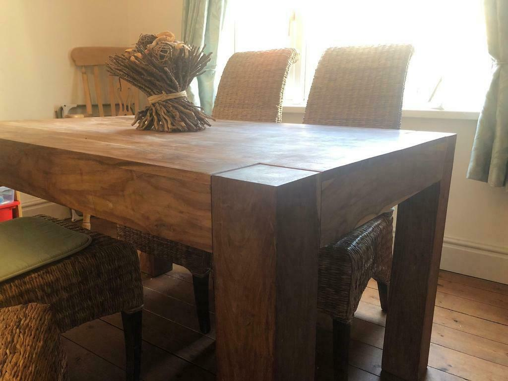 Solid Oak table and rattan chairs - superb | in Newport ...